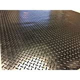 "Checker Plate Rubber Garage Flooring Matting | 4ft 9"" wide 