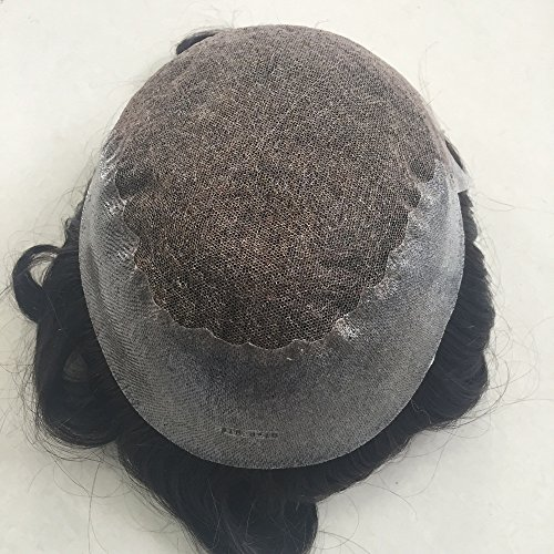 Mens Toupee Foryang Lace With Skin Human Hair Pieces Toupee Hair Replacement System For Men 8x10 Off Black 1B by Foryang (Image #5)