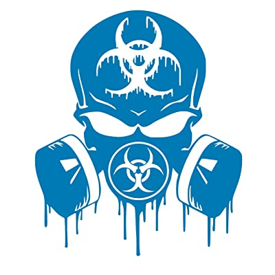 UR Impressions ABlu Skull Dripping Biohazard Respirator Decal Vinyl Sticker Graphics for Cars Trucks SUV Vans Walls Windows Laptop|Azure Blue|5.5 X 5 inch|URI349-AB: Automotive