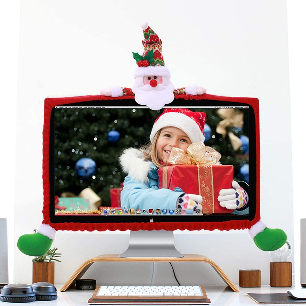"ASFSKY Christmas Computer Monitor Cover 3D Decoration Computer Border Cover Dust Case for 19"" - 27"" Elastic Dustproof Christmas Decor New Year Home Office Decorations (19""-27"" Santa Claus)"