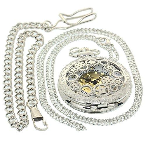 Hollow Gear Quartz UniqueFashion Design Men Women Necklace Chain Best Gifts Watch Antique Boys Girls Pocket Watches Chain Vintage Quartz Clock Fob Watch 1 PC Necklace 1 PC Clip Key -
