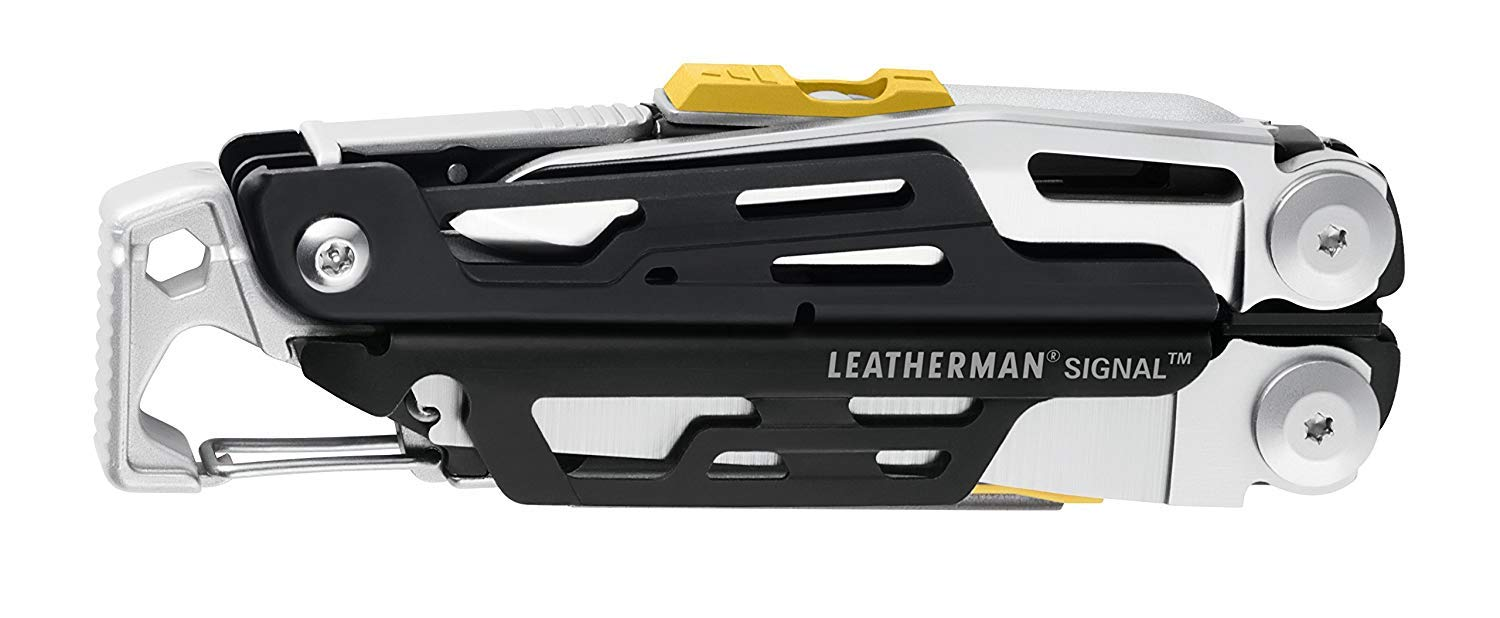 and Emergency Whistle and Nylon Sheath Hammer LEATHERMAN 832262 Signal Camping Multitool with Fire Starter