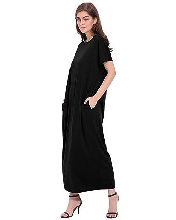 1b118476d939a ZANZEA Women Short Sleeve Plain Long Casual Maxi Dress with Pockets Loose  Black S