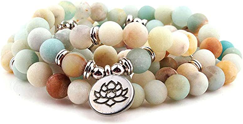 GVUSMIL 8mm 108 Mala Beads Wrap Bracelet Necklace for Yoga Charm Bracelet Natural Gemstone Jewelry for Women Men
