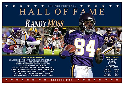 793bdaa89 PosterWarehouse2017 SUPERSTAR RECEIVER RANDY MOSS PRO FOOTBALL HALL OF FAME  COMMEMORATIVE POSTER
