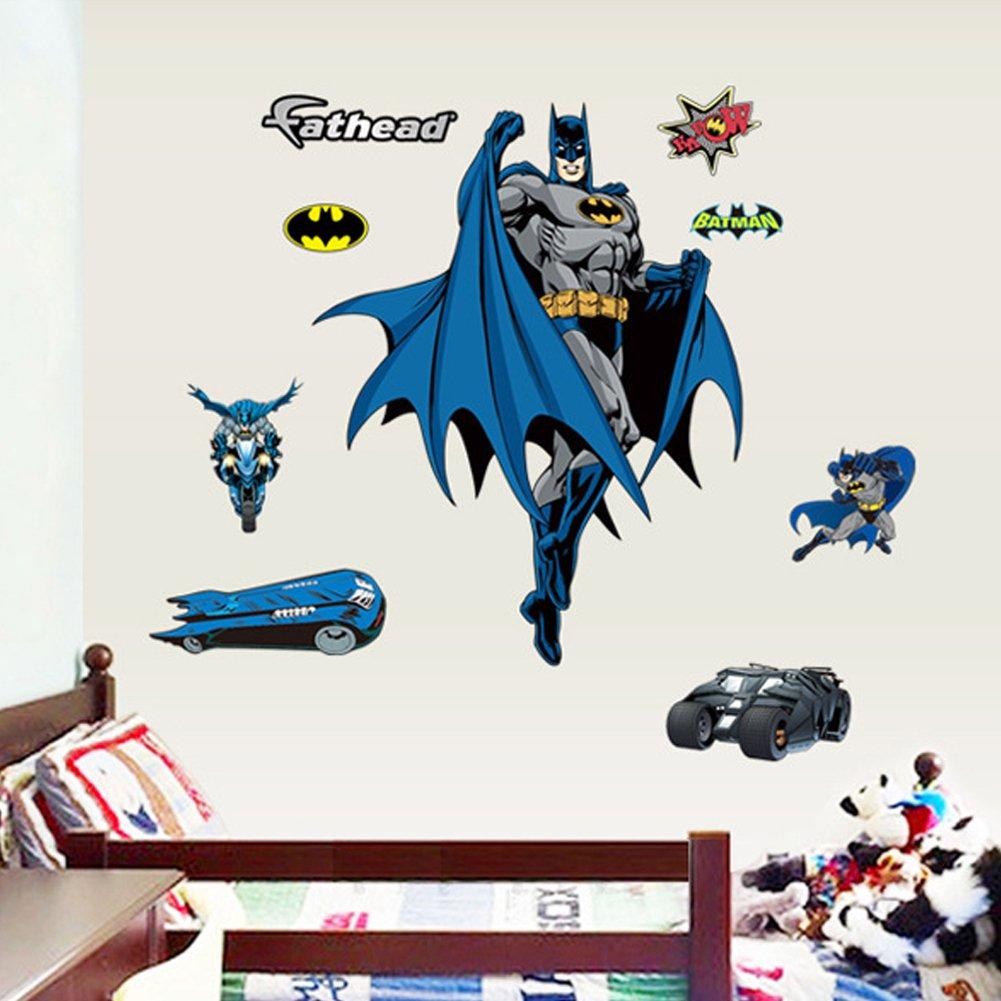 America Heros Batman Spiderman PVC Wall Sticker Decals Kids Boys Bedroom Nursery Decor Removable Mural (Batman) ZNU