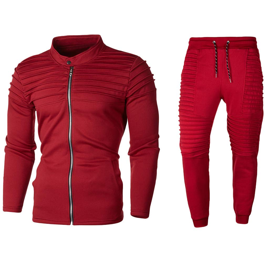 Mens Track Suits 2 Piece Outfits Long Sleeve Full-Zip Sweatshirt Jackets Pleated Slim Fit Joggers Pants Set Stretchy Casual Workout Sweat Suits Activewear by Armfre Two-Piece-Outfit