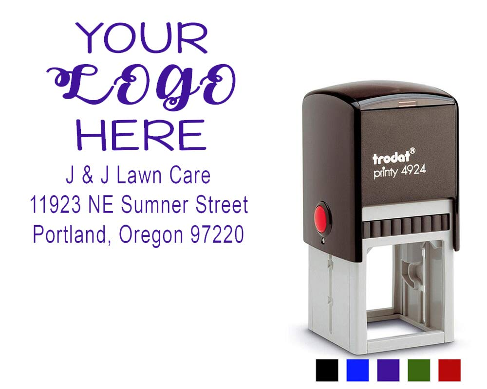 Office Address Stamp with Business Logo - Return Address or Your Company Information! Choose Your Ink Color - Size 1 5/8 x 1 5/8. (Purple)