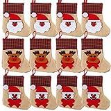 OurWarm 12PCS 3D Mini Christmas Stockings Linen Burlap Silverware Holders Felt Rustic Plaid Tableware Bags Santa Snowman Reindeer Pattern Dinnerware Cover Christmas Decorations Xmas Party Ornament