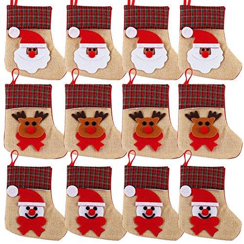 OurWarm 12PCS 3D Mini Christmas Stockings Linen Burlap Silverware Holders Felt Rustic Plaid Tableware Bags Santa Snowman Reindeer Pattern Dinnerware Cover Christmas Decorations Xmas Party Ornament (Burlap In Bulk)