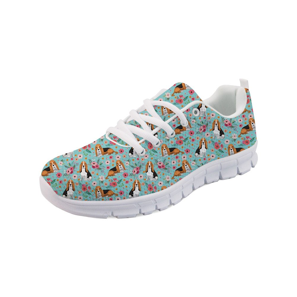 Showudesigns Air Running Sneaker Women Platform Sport Shoes Basset Hound Floral