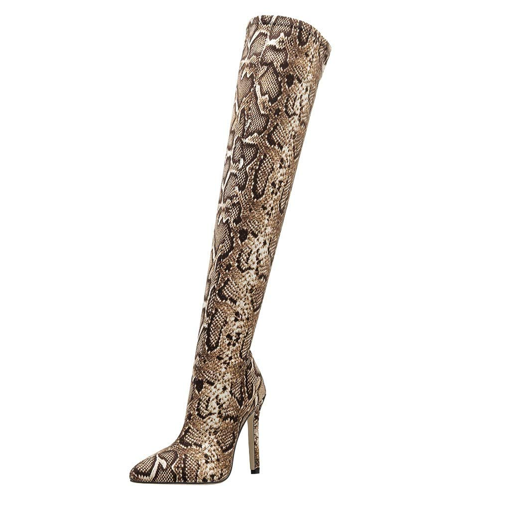 Over The Knee Boots for Women,Jchen Ladies Snakeskin Print Nightclub Boots Winter Stiletto High Heel Over The Knee Boots Brown