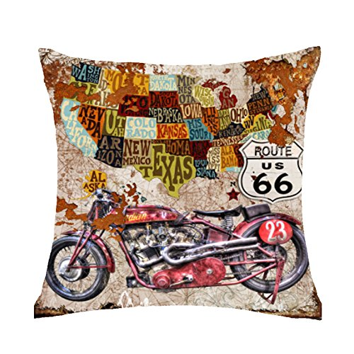 - FELENIW Retro Last Century Oil Painting Wood World map Classic car Motorcycle Throw Pillow Cover Cushion Case Cotton Linen Material Decorative 18