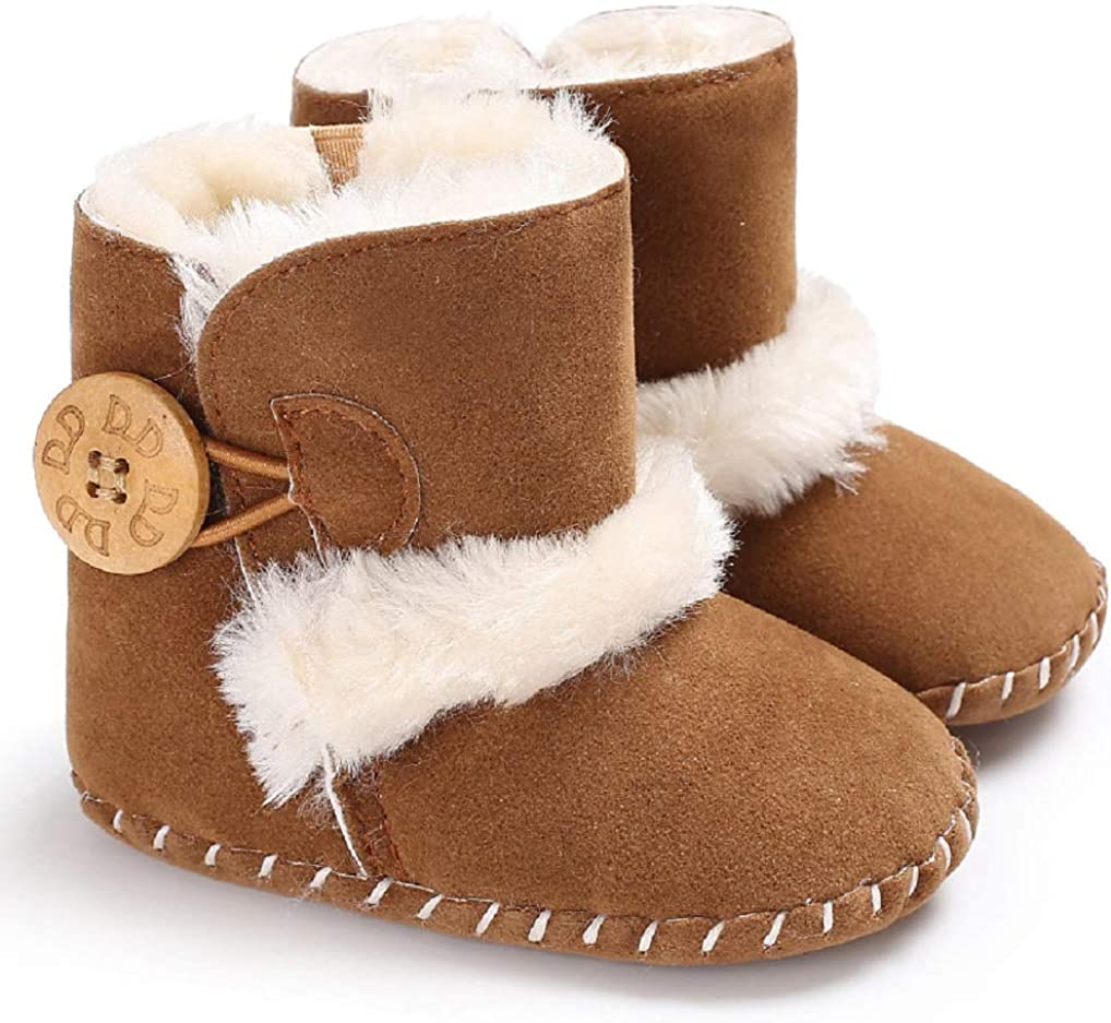 | Jonbaem Baby Winter Buttons Snow Boots Warm Shoes Anti-Skid Plush Ankle Booties Newborn Infant Crib Boots (6-12 Months, Brown), 6-12 Months Infant | Boots