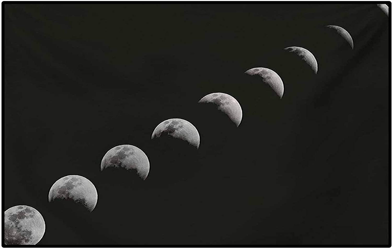 Moon Phases Runner Rug For Hallway Home Area Rugs A Lunar Eclipse Changing Phase Of The Moon Astronomy And Universe Theme Kids Home Decor Rugs Black Pale Grey 3 X 5
