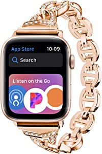 Light Compatible with 38mm/40mm Apple Watch Band - Diamond Rhinestone Stainless Steel Women Girl Bling Band Compatible with iWatch Series SE Series 6 5 4 3 2 1(Rose Gold/Gold Aluminum,38mm/40mm)