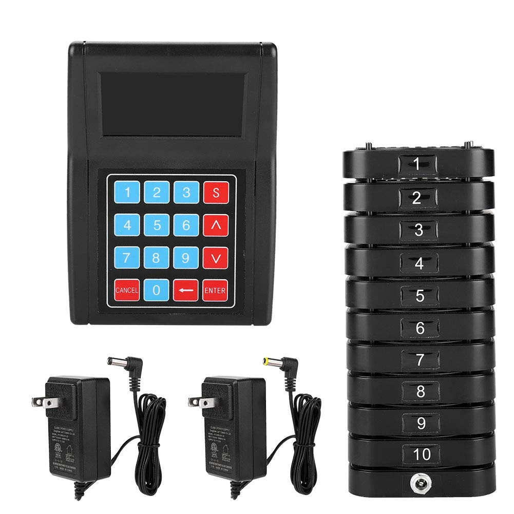 ASHATA Restaurant Pager System, Durable Convenient Restaurant Queuing Wireless Calling System with 1Transmitter+10Reciever,Wireless Restaurant Calling System Convenient for Clinic Cafe (US) by ASHATA