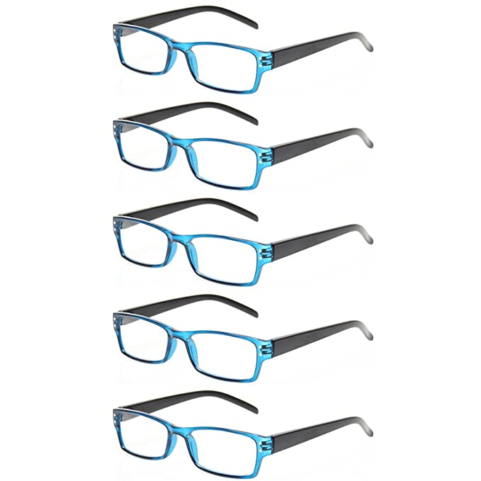 e0a9fa24ecfd Reading Glasses 5 Pairs Spring Hinge Man and Women Plasitic Material Readers  (5 Pack Blue