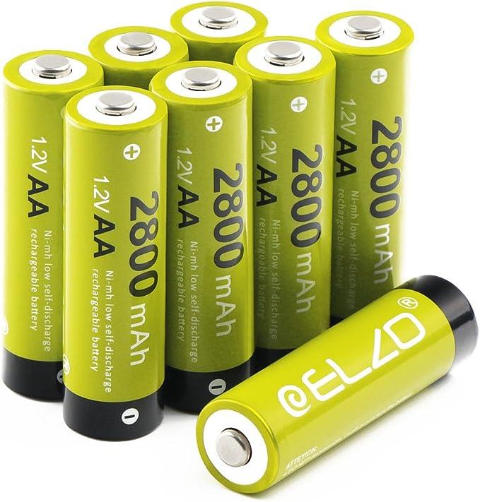 ELZO - Pack 8 Pilas Recargables AA Ni-MH, 1.2V / 2800mAh Baterías Recargables para los Equipos Domésticos con Estuches de Almacenamiento: Amazon.es: Electrónica