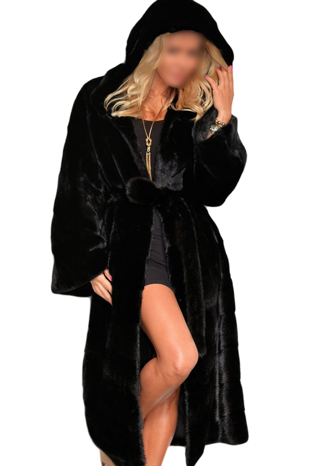 YACUN Women Winter Faux Fur Parkas Hooded Long Trench Coat Outwear CAChjT0561