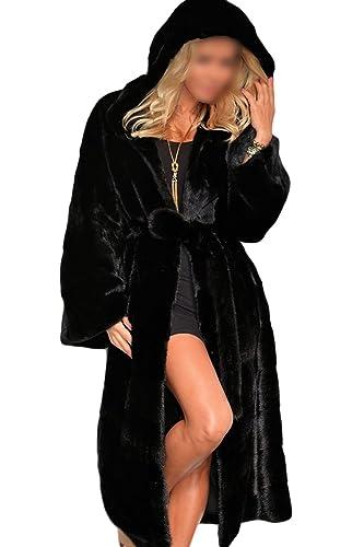 YACUN Faux Fur Hooded Abrigos Mujer Invierno Gabardina Larga Outwear
