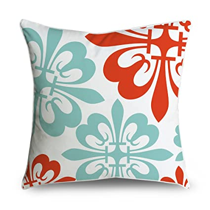 Amazon Com Fabricmcc Throw Pillow Cover Flowers Red And Teal On