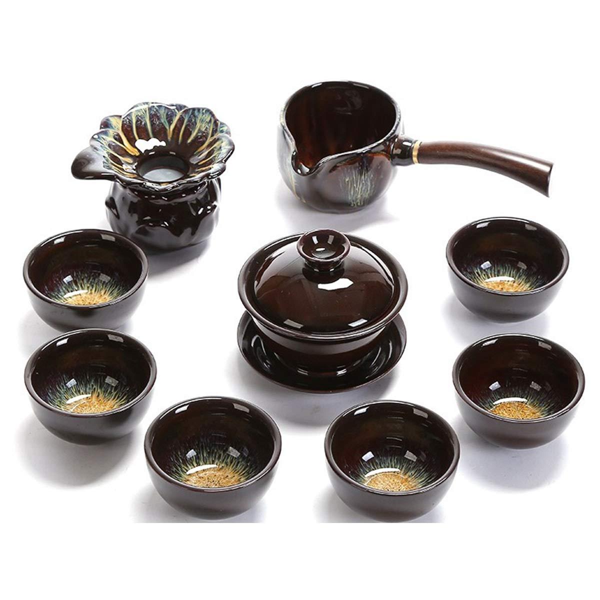 10ピース中国の陶磁器のお茶セット (Design : B) B07QCYY2ZT  B