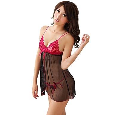 77856f34e3 MYZA Babydoll Sexy Night Dress Lingerie Nighty for Women Nightwear (Black -  Red) (
