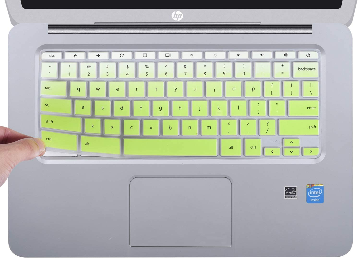 "CaseBuy Keyboard Cover Compatible 2019/2018/2017 HP 14"" Chromebook/HP Chromebook 14-db Series/HP Chromebook 14-ca Series/HP Chromebook 14-ak Series/HP Chromebook 14 G2 G3 G4 G5, Ombre Green"
