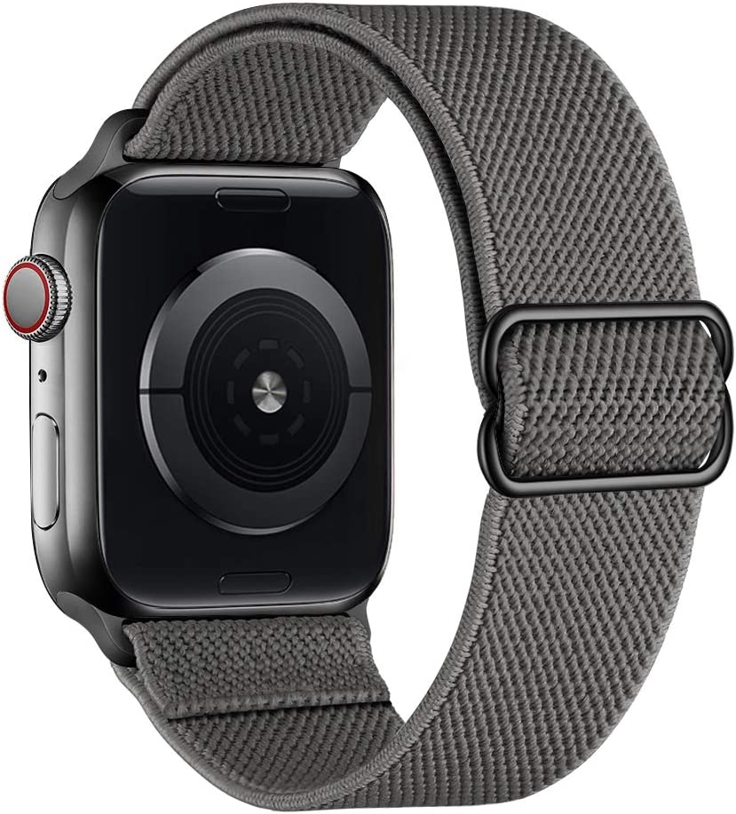 SIRUIBO Stretchy Nylon Solo Loop Bands Compatible with Apple Watch 42mm 44mm, Adjustable Stretch Braided Sport Elastics Women Men Strap Compatible with iWatch Series 6/5/4/3/2/1 SE, Dark Gray