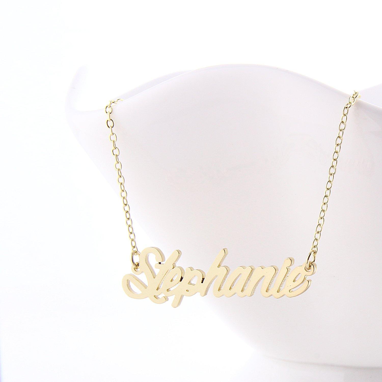 Amazon.com: AOLO Unique Personalized Name Necklace Vintage ...