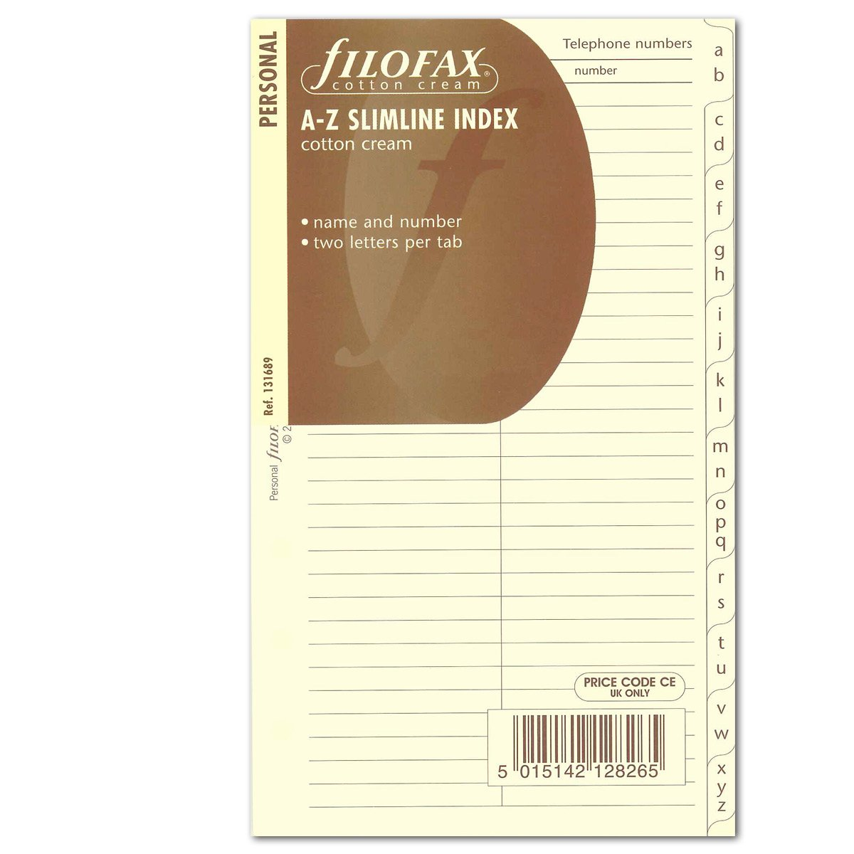 Filofax Personal Cotton Cream A-Z Slimline Index Name/ Telephone Numbers 131689
