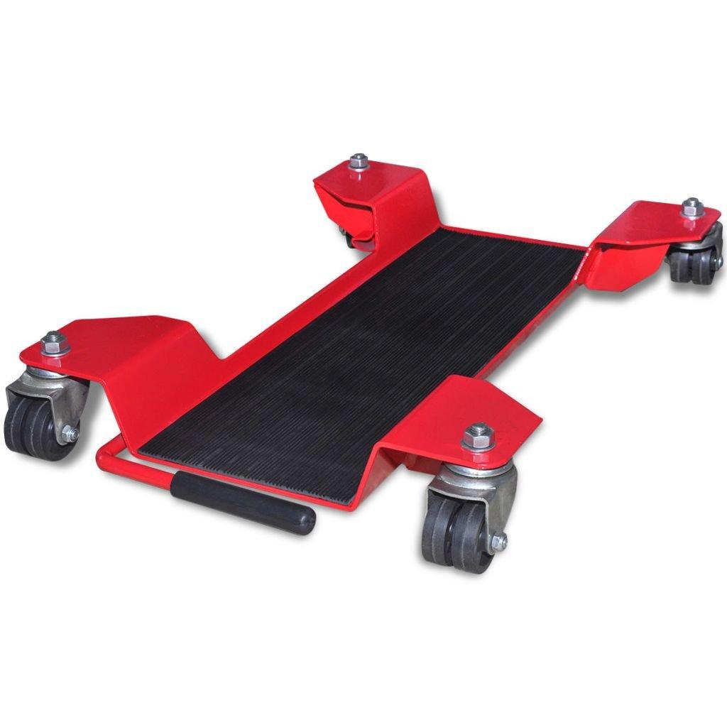 vidaXL Carrello sposta moto cavalletto alza solleva moto universale rosso