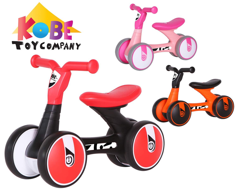 VTD Kobe Tiny Trike Balance Running Walker Helper - No Pedals - Perfect Training Bike for Toddlers & Kids, 4-Wheel - Black