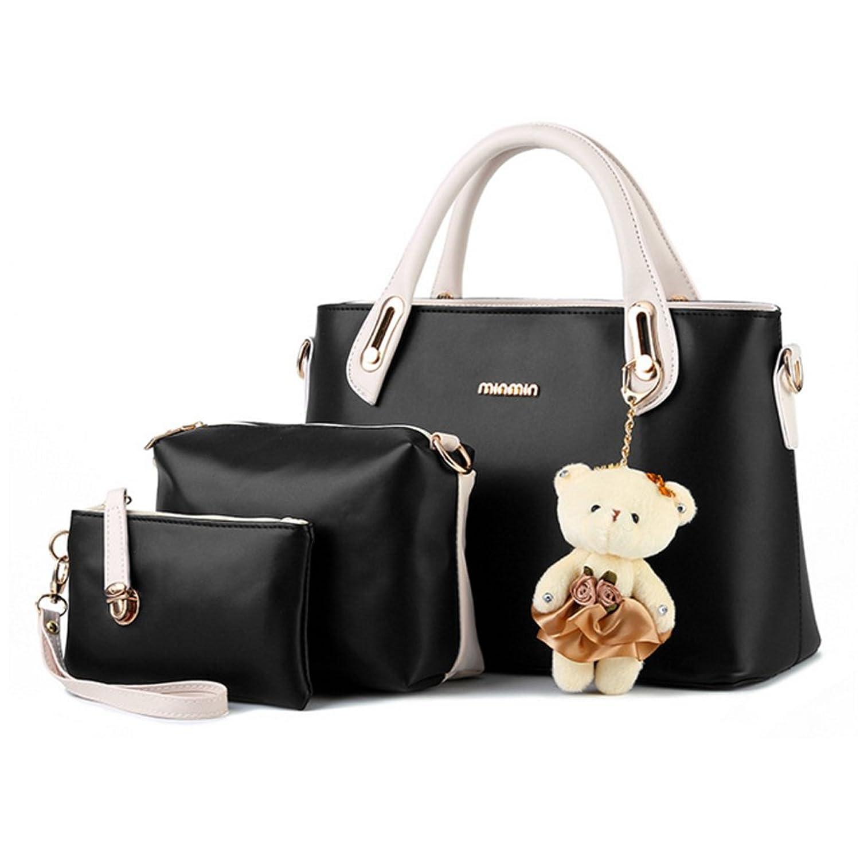 LOMOL Fashion Elegant Leather Multifunctional Three-piece Tote Top-handle Handbag Shoulder Bag For Women&girl