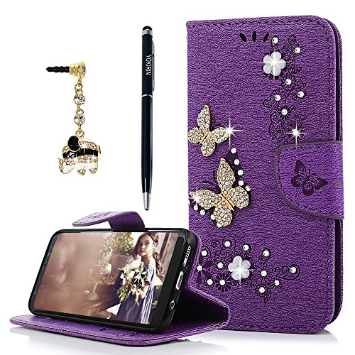 Galaxy S8 Wallet Case, YOKIRIN Luxury 3D Handmade Crystal Rhinestone Case Embossed Double Bling Butterfly PU Leather with Wrist Strap Stand Credit Car…