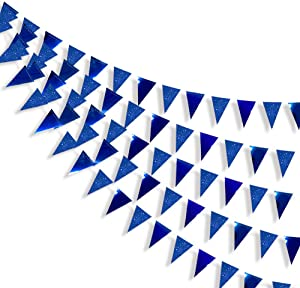 30 Ft Navy Blue Party Decorations Glitter Metallic Paper Royal Blue Triangle Banner Flag Garland Pennant Bunting for Birthday Baby Shower Graduation Ahoy Achor Nautical Pirate Theme Party Supplies