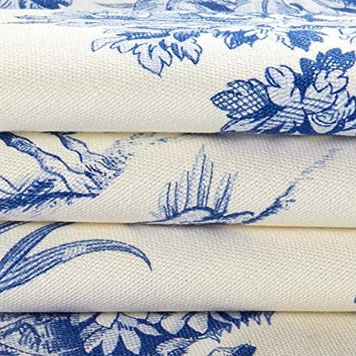 AZURE BLUE French Toile de Jouy COTTON VELVET Upholstery Curtain Designer Fabric