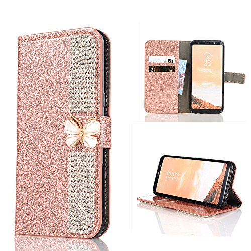 Price comparison product image Wallet Making Elaco Leather Card Magnetic Case Cover For Samsung Galaxy S8 5.8inch/S8 Plus 6.2inch (Rose Gold, S8 5.8inch)