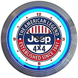 Neonetics Jeep The American Legend Clock, 15 Inch Diameter with Blue Neon - 8JEEPX