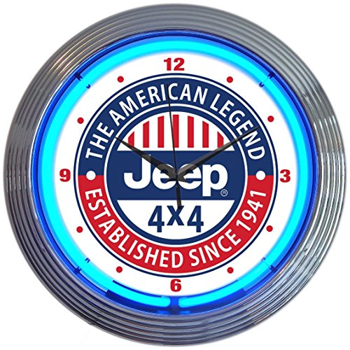 Neonetics Jeep The American Legend Clock, 15 Inch Diameter with Blue Neon - -