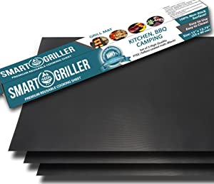 BBQ Grill Mats & Baking Mats - Set of 3 Non Stick 15.75 x 13 Inch Sheets - Heavier Teflon Coating for Longer Life - Reusable and Easy to Clean - Works on Gas, Charcoal and Electric Grills