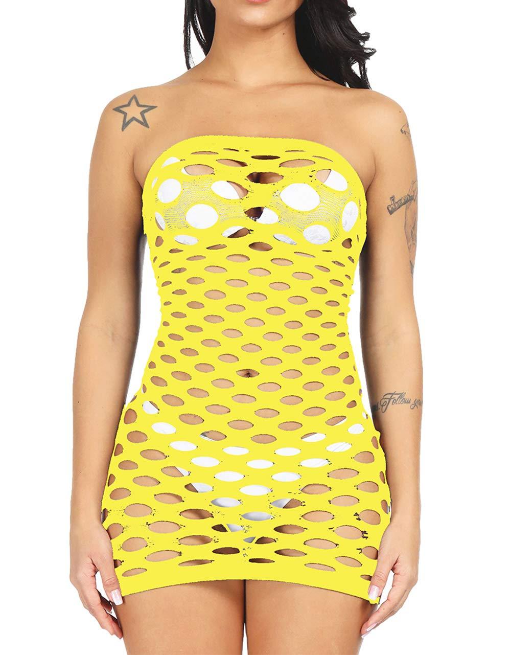 LemonGirl-Womens-Mesh-Lingerie-for-Women-Fishnet-Babydoll-Mini-Dress-Free-Size-Bodysuit