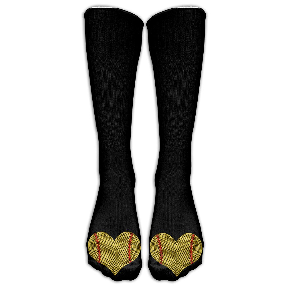 I LOVE SOFTBALL HEART Unisex Cotton Crew Athletic Sock Running Socks Soccer Socks
