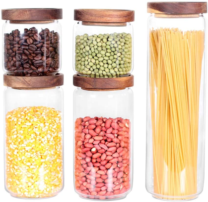Glass Canisters Set of 5 for the kitchen, Glass Storage Container jars with Airtight Acacia Lid for Coffee Beans, Flour, Sugar, Rice and Spaghetti and etc