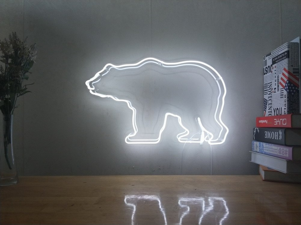 Polar Bear Real Glass Neon Sign For Bedroom Garage Bar Man Cave Room Home Decor Handmade Artwork Visual Art Dimmable Wall Lighting Includes Dimmer