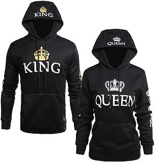 Socluer Pärchen Paar King und Queen Sweatshirt Pullover mit Kapuze Damen  Herren Hoodie mit Tasche edf9f30e3d