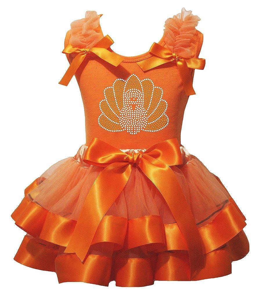 Petitebella Thanksgiving Bling Turkey Shirt Orange Petal Skirt Nb-8y