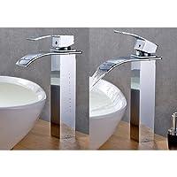Auralum® Robinet de Lavabo Salle de Bains Mitigeur Cascade Pour Vasque Chromé Robinetterie