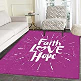 Hope Customize Floor mats for home Mat Illustration of Western Spiritual Message Faith Hope Slogan on Purple Backdrop Oriental Floor and Carpets 3'x5' Purple and Lilac
